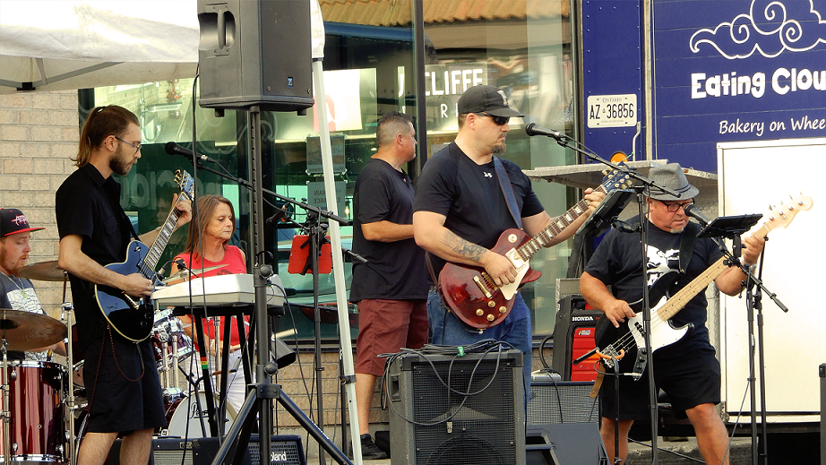 Near Myth perform at Royal City Studios' inaugural Classic Covers Cool Cars concert event.