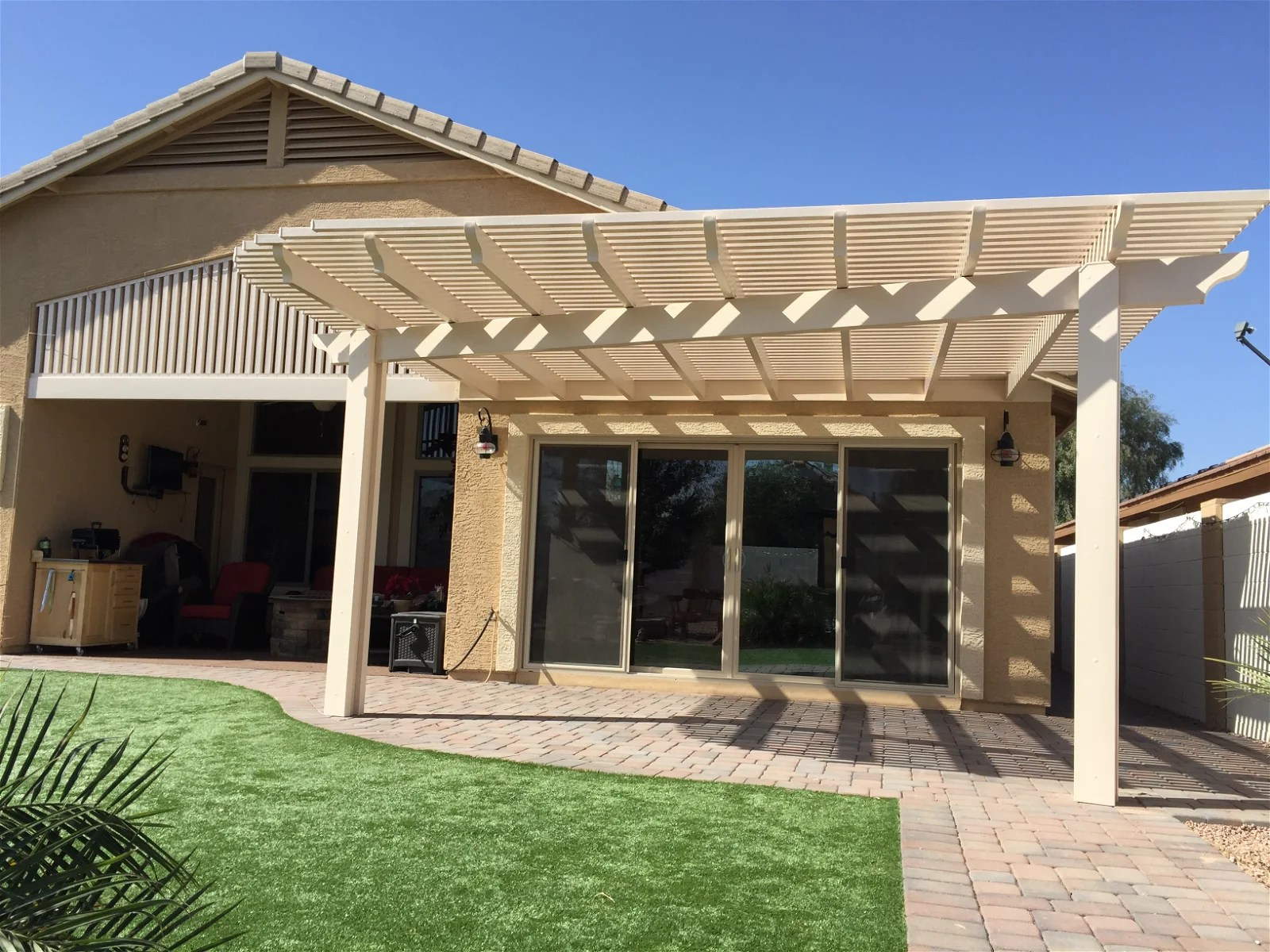 alumawood patio cover over new pavers
