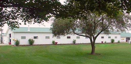 horse boarding barn outside