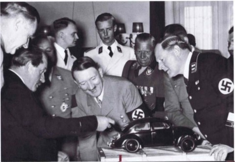 Hitler during his visit to the VW factory in 1938