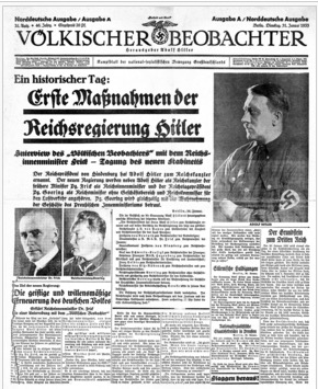 Volkischer Beobachter, the Nazi newspaper in which Shell used to advertise