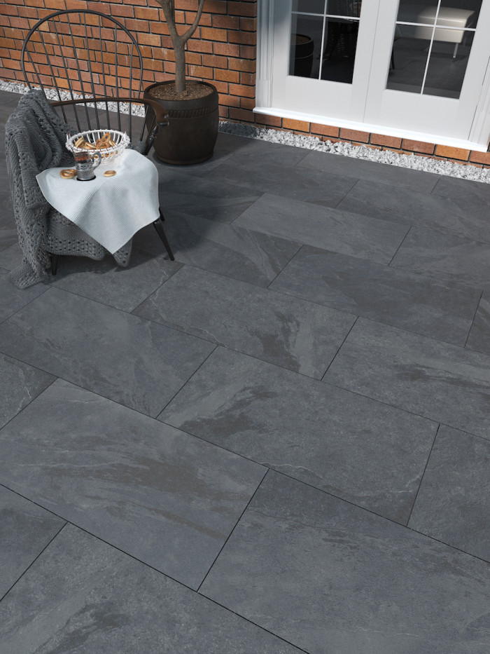 victoria black slate virtue vitrified porcelain paving slabs 900x450 pack