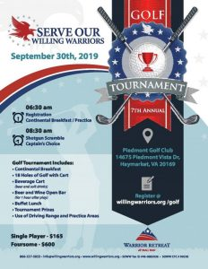 7th Annual Golf Tournament for Serve Our Willing Warriors @ Piedmont Golf Club