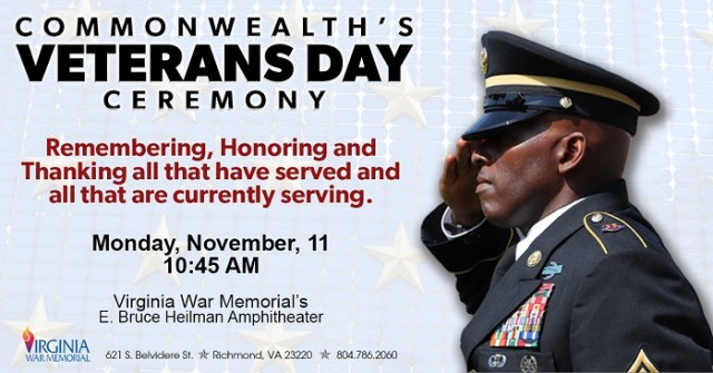 Commonwealth S Veterans Day Ceremony To Be Held At Virginia