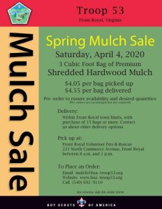 Troop 53 Annual Mulch Sale @ Front Royal Volunteer Fire and Rescue