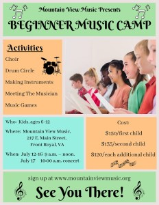 Beginner Music Camp @ Mountain View Music