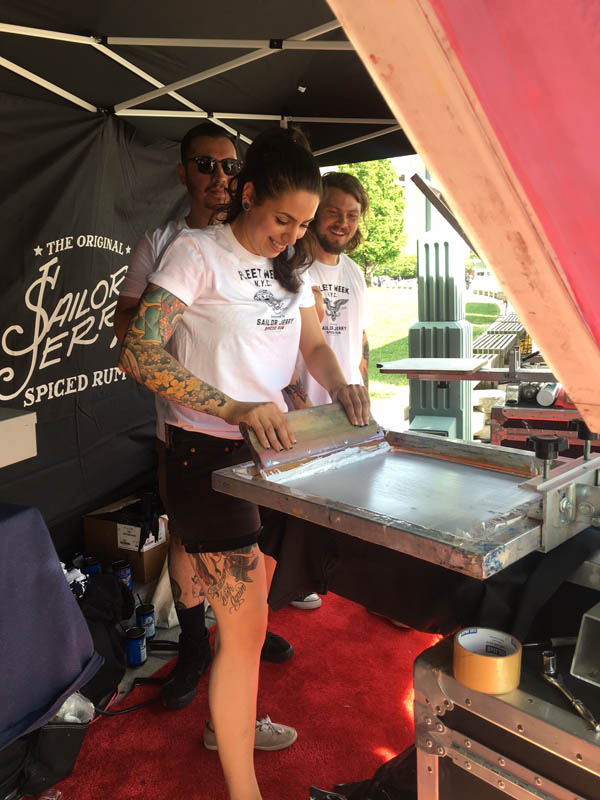Sailor Jerry offered free screen printed T-shirts for fleets and guests. (PHOTO: Tina Benitez)