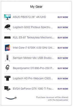 Twitch Extensions: Gear on Amazon