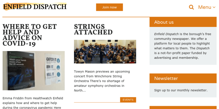 Screenshot of the Enfield Dispatch website. It shows stories about how to get help and advice on Covid-19, and the Winchmore Hill Orchestra.