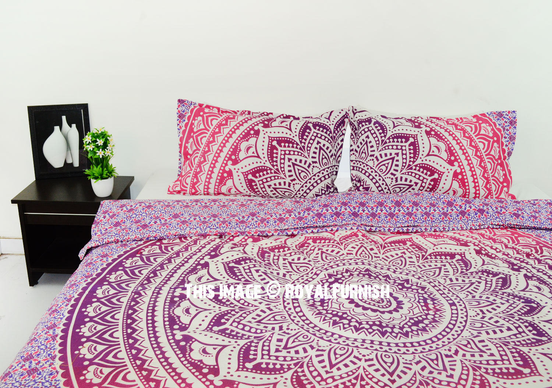 Pink Purple Queen Medallion Mandala Duvet Cover With Set