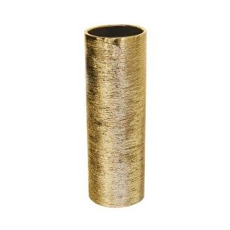 gold ceramic etch cylinder vase for florals 4x12