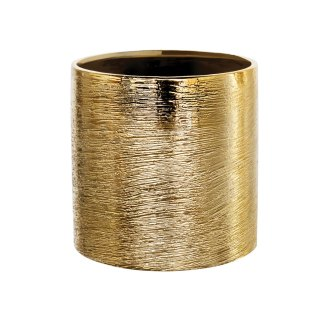 gold ceramic etch cylinder vase for florals 5x5