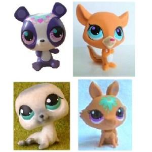 4 Pet Shop figurines (LPS) Hasbro.