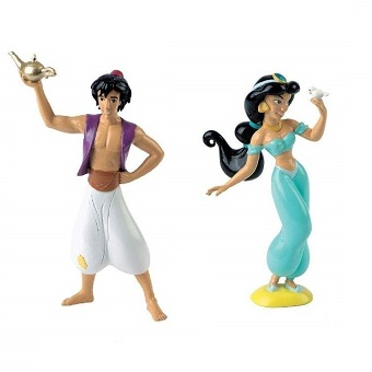 Aladdin et Jasmine 2 figurines Disney Bulllyland peint a la main