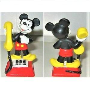Figurine Mickey avec téléphone Bully Germany 1981