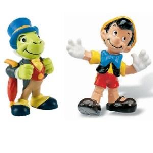Pinocchio et Jiminy Cricket 2 figurines Disney Bullyland Peint a la main.
