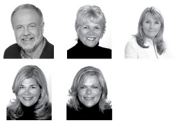 Top row, from left: Gino Romanese, Ruth Anne Winter, Lynn Hoffmann. Bottom: Wendy Saunders and Kim Saxton.