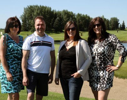 Saskatoon's first annual Royal LePage Golf Tournament for Shelter Committee Members (l-r): Colette Gates, Royal LePage Saskatoon Real Estate; Lyndon Neher, Royal LePage Vidorra; Lisa Poier, Royal LePage Hallmark; Alyss Gehl, Royal LePage Hallmark.