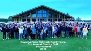 Attendees of the 5th Annual Royal LePage Network Realty Corp. Charity Golf Tournament pose for a group photo.