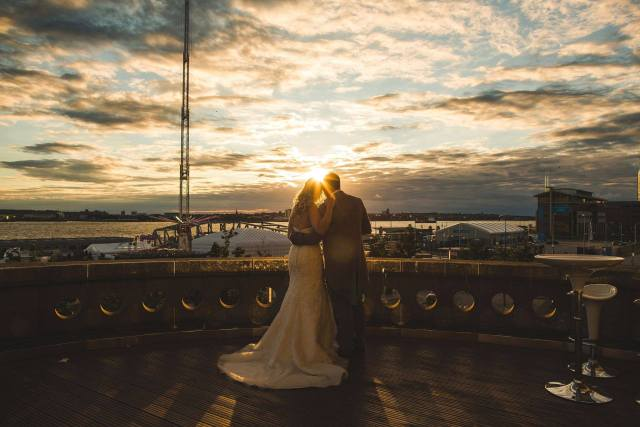 Panoramic sunset views from Royal Liver Building private outdoor Balcony Liverpool Venue