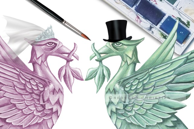 Rebecca Christian hand illustrated water colour liver bird wedding stationary and invitations