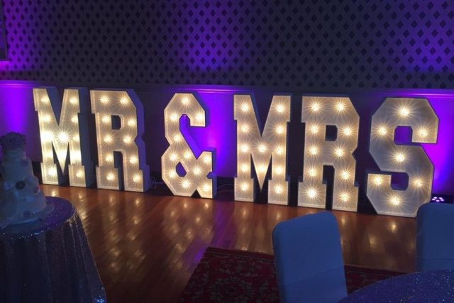 Mr and Mrs LED Free standing letters wedding decorations