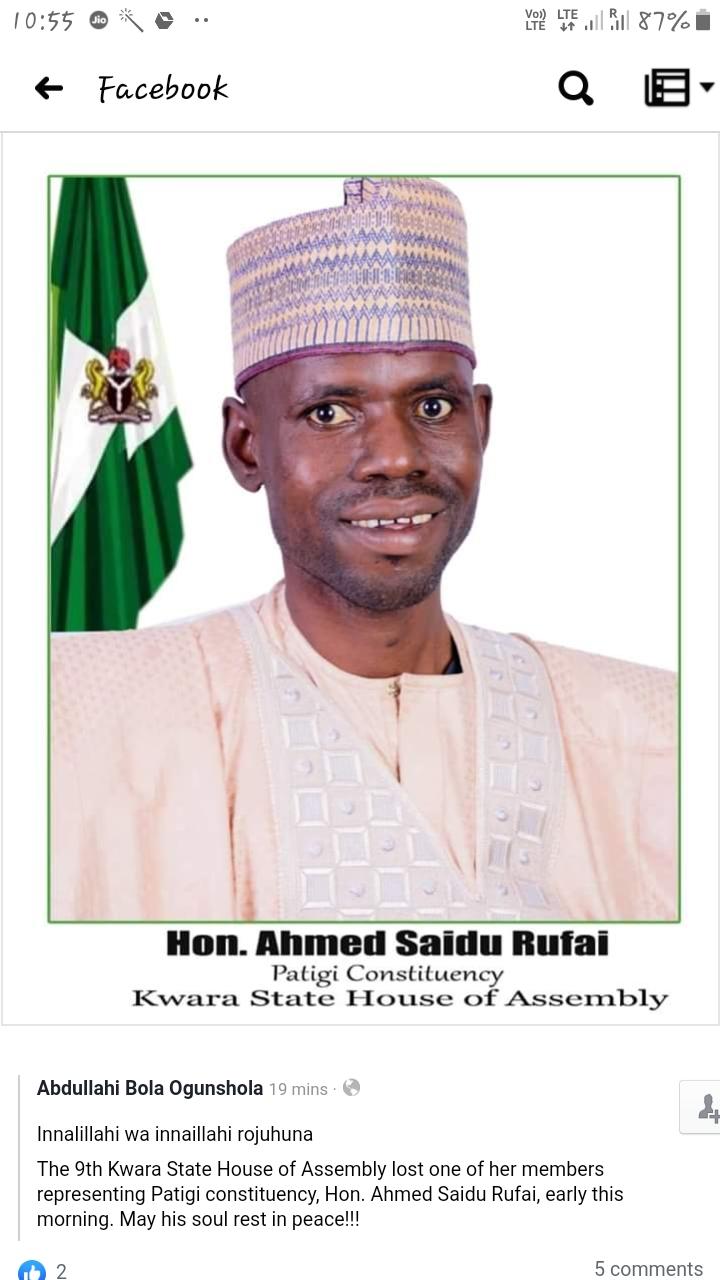 BREAKING.... Kwara assembly member is dead