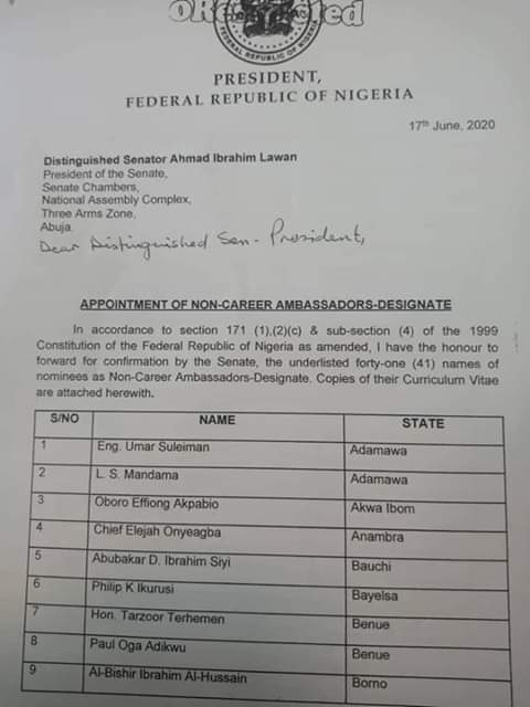 BREAKING....Emir's wife, 2 others make Buhari's Ambassadorial lists from Kwara (SEE FULL NAMES)