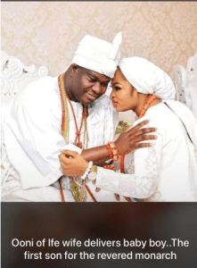 Ooni of Ife wife delivers baby boy