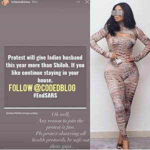 Protest will give ladies husband this year more than Shiloh – Toke Makinwa says