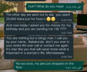 Lady blasts her boyfriend for gifting her N15, 000 to celebrate her birthday