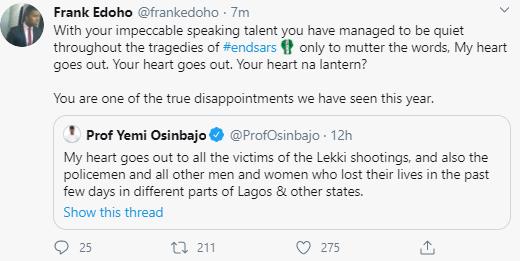 Frank Edoho calls Yemi Osinbajo a 'disappointment'