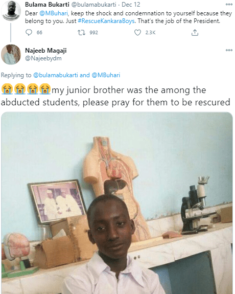 ''May he lead Nigeria till eternity''Nigerian man whose brother was abducted in Katsina school attack prays for President Buhari