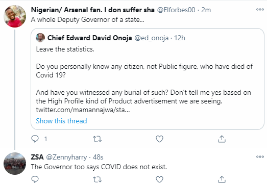 """The Covid 19 matter has never added up"" Kogi Deputy Governor, Edward David Onoja doubts the existence of Covid-19 in Nigeria"