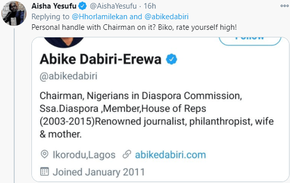 ''I will block anyone I feel like blocking anytime'' Abike Dabiri-Erewa responds after Aisha Yesufu called her out for blocking someone on Twitter