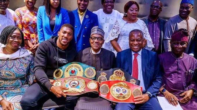 President Buhari celebrates Anthony Joshua's victory