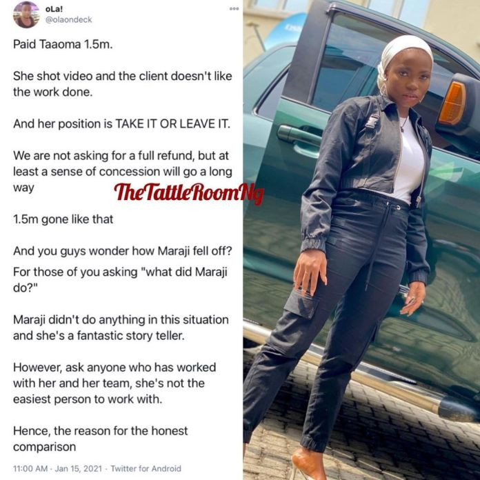 Man calls out Instagram comedienne, Taaooma over N1.5million skit