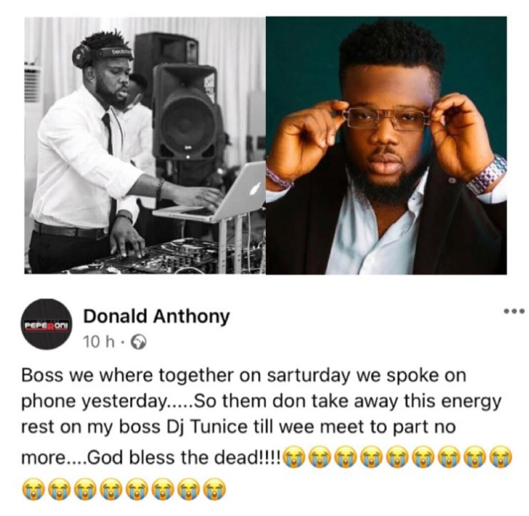 Popular Abuja disk jockey, DJ Tunice, dies after falling and hitting his head at his home