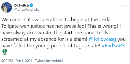 ''We cannot allow operations to begin at the Lekki Tollgate when justice has not prevailed''- DJ Switch
