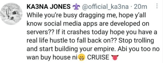 Stop trolling and start building your empire - BBNaija's Ka3na tells those attacking her after she mentioned she bought her first house before BBN