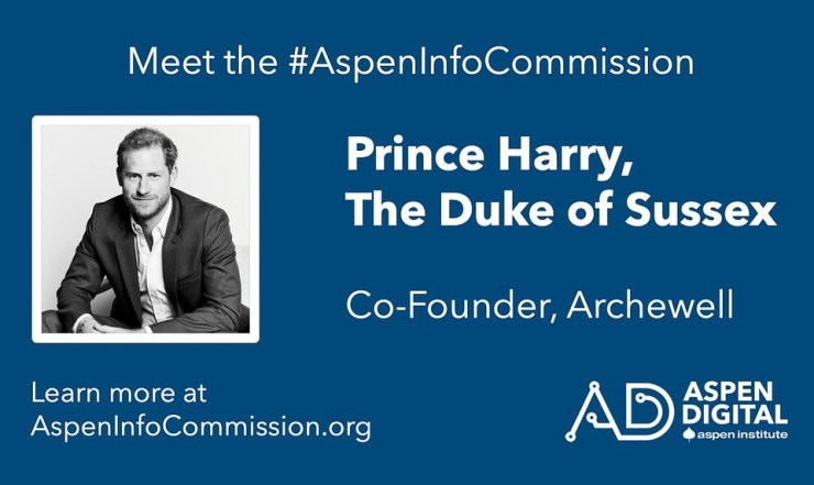 Prince Harry takes up another job at Aspen Institute as one of 14 'commissioners' who will 'fight against misinformation