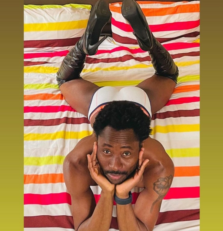 """""""I don't play, I slay"""" -Bisi Alimi says as he poses in his briefs and high-heeled shoes"""