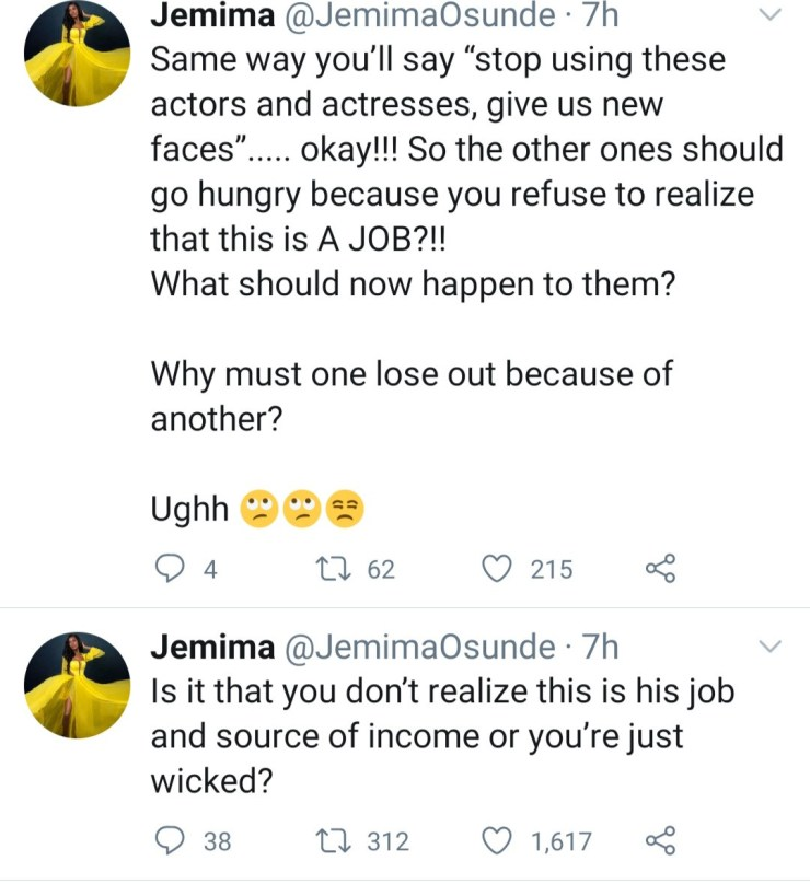 Jemima Osunde curses follower who asked for Ebuka Obi Uchendu to be replaced as the host of Big Brother Naija