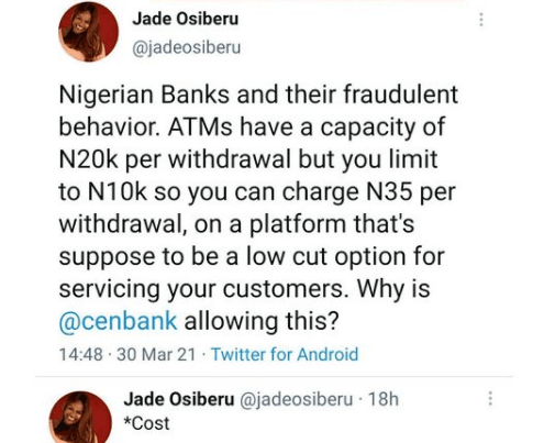 ''Why is Central Bank allowing this?''- Filmmaker Jade Osiberu calls out banks restricting withdrawal amount at ATMs