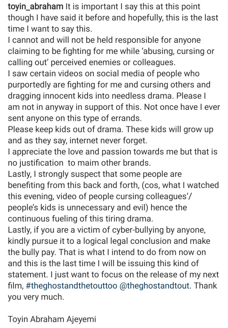 """""""I am not in support of this"""" Toyin Abraham warns fans fighting celebrities on her behalf"""