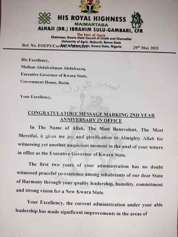 (SEE LETTER): Emir of Ilorin greets Gov. Abdulrazaq on 2yrs in office