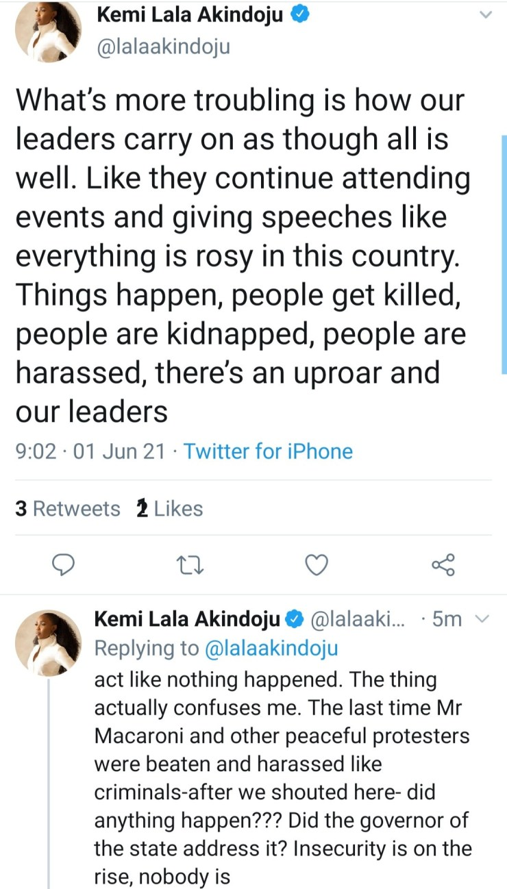 Lala Akindoju criticizes Nigerian leaders for their 'lack of empathy' for the people