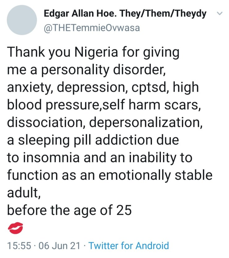 Temmie Ovwasa lists the mental and physical illnesses she has to deal with as she blames Nigeria for her condition