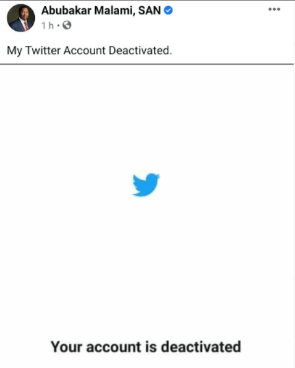 Malami deactivates his Twitter account