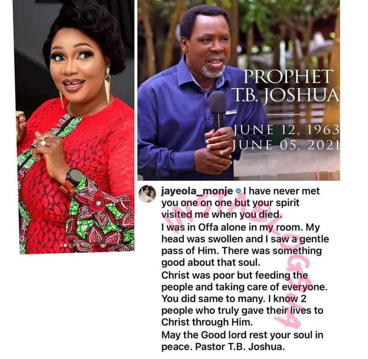 TB Joshua's Spirit Visited Me Shortly After He Died — Actress Jaiye Kuti